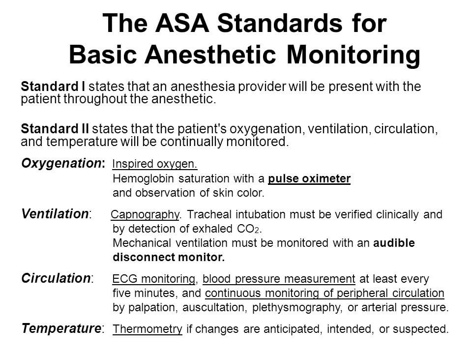 Anesthesia Monitoring Standards - Anesthesia Mistakes